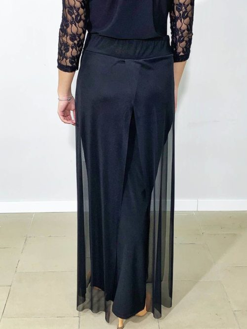 Pantaloni donna con velo neri
