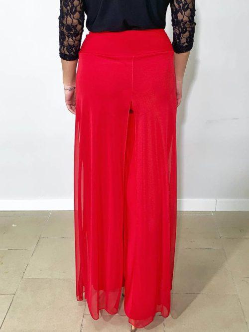 Pantaloni donna con velo rossi